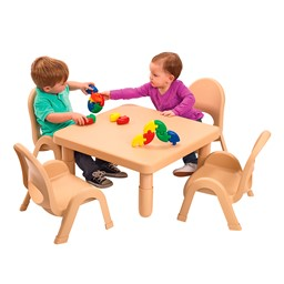"Natural Tan Square Value Preschool Table & Chair Set (12"" Table Height)"