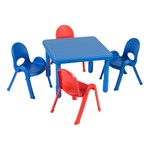 """Square Value Table & Chair Set - Royal Blue Table - 20"""" Seat Height"""