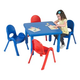 """Square Value KidsTable & Chair Set - Royal Blue Table - 20"""" Seat Height"""