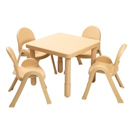 """Natural Tan Square Value Table & Chair Set (20\"""" Table Height)"""