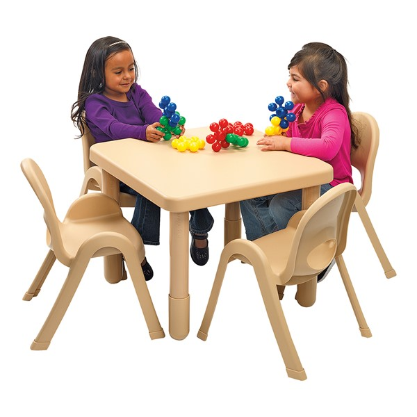 """Natural Tan Square Value Table & Chair Set (20"""" Table Height)"""