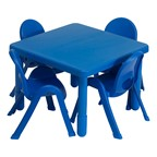 """Square Value KidsTable & Chair Set (20"""" Table Height) - Royal Blue"""