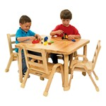 "Natural Wood Table & Chair Set (30"" W x 30"" L x 20"" H)"