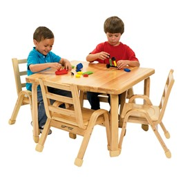 "Natural Wood Table & Chair Set (30"" W x 30\"" L x 12\"" H)"