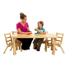 "Natural Wood Table & Chair Set (30"" W x 48\"" L x 20\"" H)"