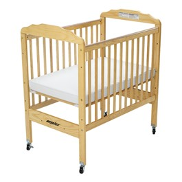 Clear Panel Adjustable Fixed-Side Safety Crib - Natural