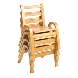 Natural Wood Collection Ladder Back Chair - Four chairs shown stacked