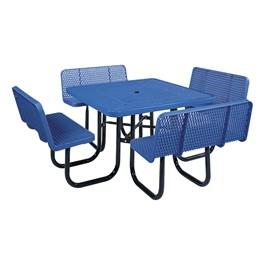 Square Picnic Table w/ Backrests - Blue