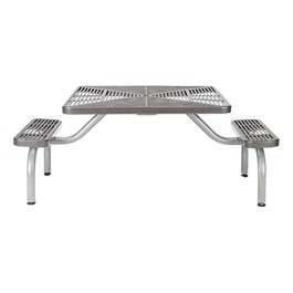 Square ADA Picnic Table w/ Two Benches - Silver