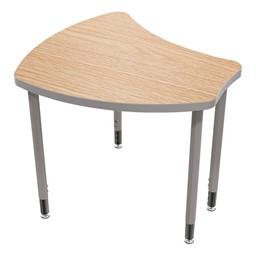 Small Shape Desk w/o Book Box - Castle oak top w/ platinum legs