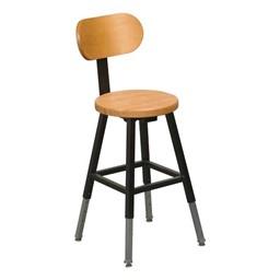 Adjustable-Height Lab Stool - Black frame w/ backrest