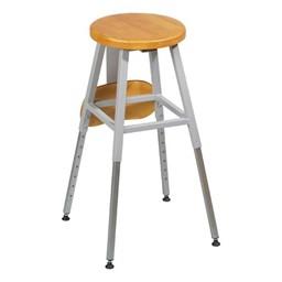 Adjustable-Height Lab Stool - Shown w/ backrest folded