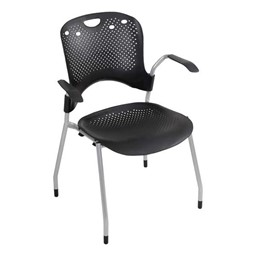 Circulation Stack Chair - Shown w/ arms - Black