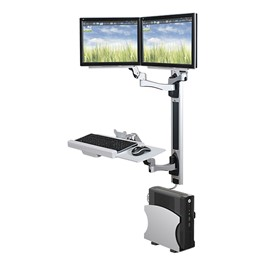 Wall-Mount Workstation - w/ two monitor arms and CPU holder
