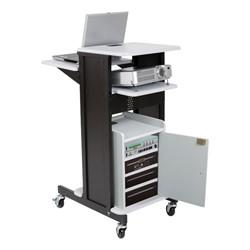 Laptop Caddy Presentation Cart – Gray Finish w/ Optional Cabinet