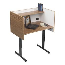 Adjustable-Height Study Carrel - Oak