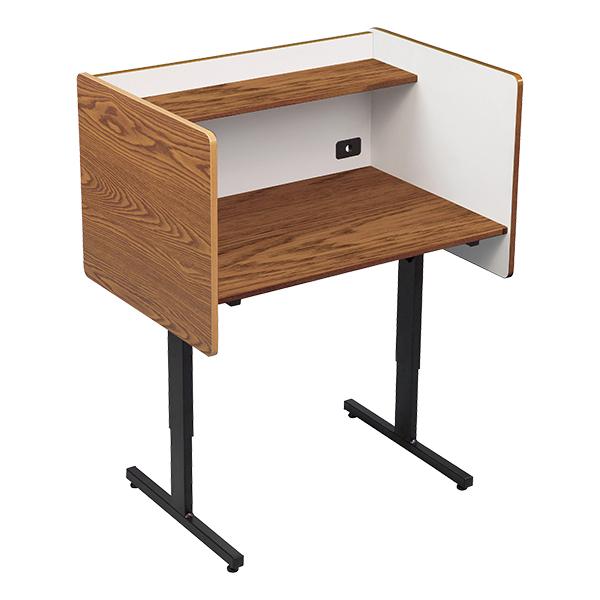 Adjustable Height Study Carrel   Oak