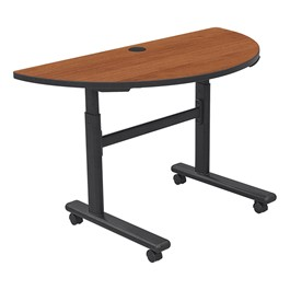 "Adjustable-Height Flipper Training Table - Half Round (24"" W x 48\"" L) - Amber cherry"