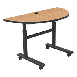"Sit-to-Stand Flipper Training Table - Half Round (24"" W x 48\"" L) - Castle oak"