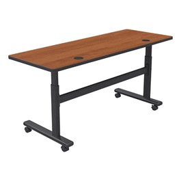 """Adjustable-Height Flipper Training Table - Rectangle (24\"""" W x 60\"""" L) - Amber cherry"""
