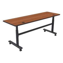 """Adjustable-Height Flipper Training Table - Rectangle (24\"""" W x 72\"""" L) - Amber cherry"""