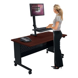Up-Rite Rear Mounted Sit & Stand Workstation - Single Monitor