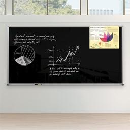 Framed Magnetic Glass Dry Erase Markerboard - Black