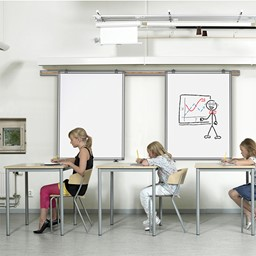 Whiteboard Track System w/ Sliding Panel