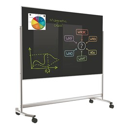 Visionary Mobile Magnetic Glass Markerboard (6\' W x 4\' H) - Black