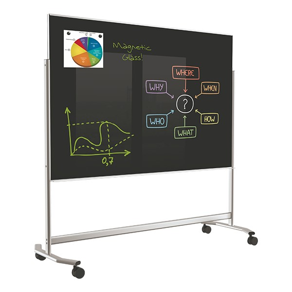 Visionary Mobile Magnetic Glass Markerboard (6' W x 4' H) - Black
