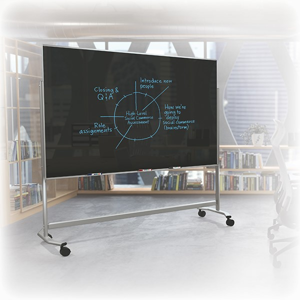 Visionary Mobile Magnetic Glass Markerboard (6' W x 4' H) - Black in a classroom setting