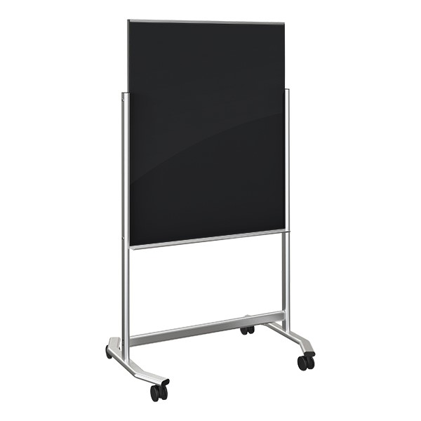 Visionary Mobile Magnetic Glass Markerboard (3' W x 4' H) - Black