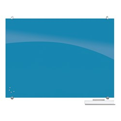 Visionary Colors Magnetic Glass Dry Erase Markerboard (4' W x 3' H) - Blue