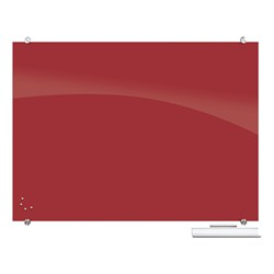 Visionary Colors Magnetic Glass Dry Erase Markerboard (4' W x 3' H) - Red