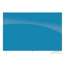Visionary Colors Magnetic Glass Dry Erase Markerboard (6' W x 4' H) - Blue