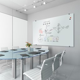 Visionary Glossy White Glass Magnetic Whiteboard