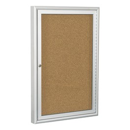 Enclosed Bulletin Board w/ One Door & Silver Aluminum Frame