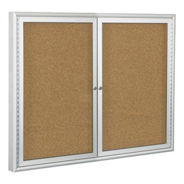 Enclosed Bulletin Board w/ Two Doors & Silver Aluminum Frame