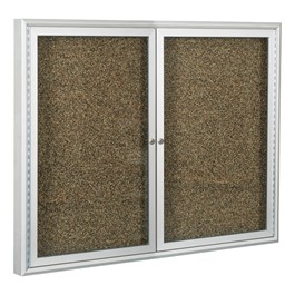 Enclosed Rubber-Tak Tackboard w/ Two Doors & Coffee Aluminum Frame