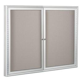 Enclosed Vinyl Tackboard w/ Two Doors - Shown w/ hinged doors
