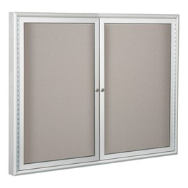 Enclosed Vinyl Tackboard w/ Two Doors - Shown w/ hinged doors