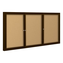 Outdoor/Indoor Enclosed Bulletin Board w/ Three Doors & Coffee Aluminum Frame