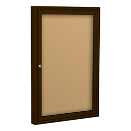 Enclosed Bulletin Board w/ One Door & Coffee Aluminum Frame