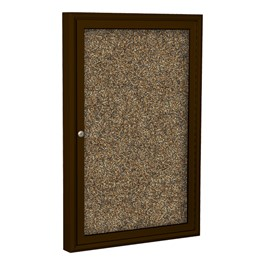 Enclosed Rubber-Tak Tackboard w/ One Door & Coffee Aluminum Frame