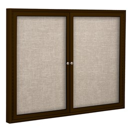 Enclosed Vinyl Tackboard w/ Two Doors & Coffee Aluminum Frame