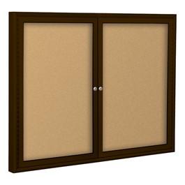 Outdoor/Indoor Enclosed Bulletin Board w/ Two Doors & Coffee Aluminum Frame