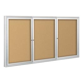 Outdoor/Indoor Enclosed Bulletin Board w/ Three Doors & Silver Aluminum Frame