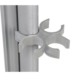 Double-Sided Porcelain Markerboard Partition<BR>Detail of plastic connector brackets