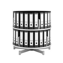Binder Carousel Shelving w/ Floor Base - Two Tier