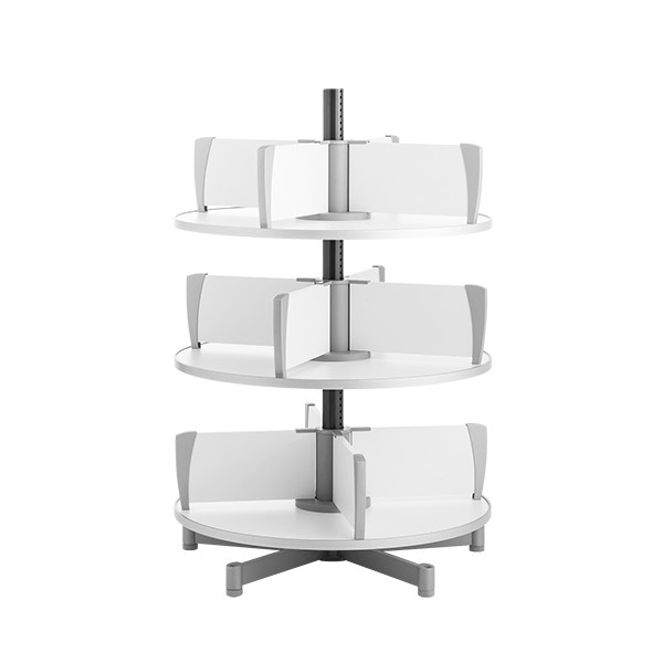 Binder Carousel Shelving w/ Floor Base - Three Tier